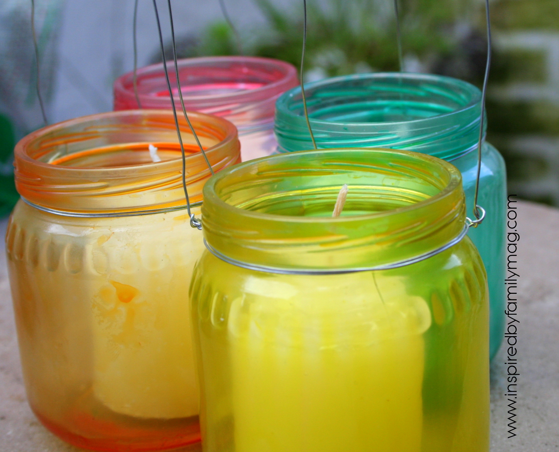 dyed glass luminaries from baby food jars