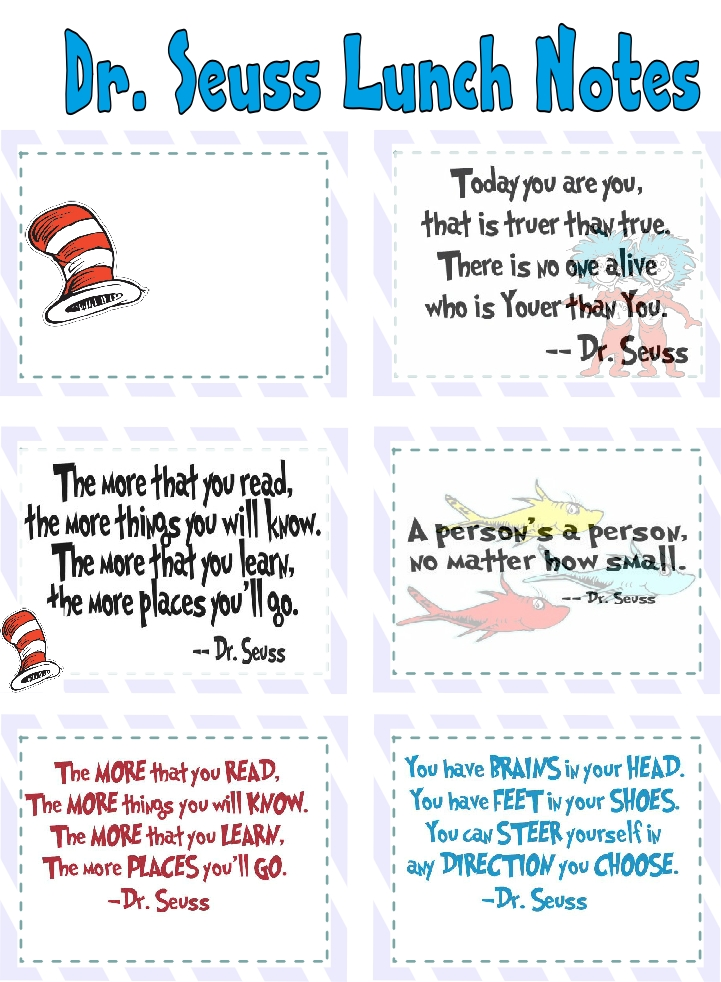 image about Free Printable Dr Seuss Quotes called Dr. Seuss Lunch Notes