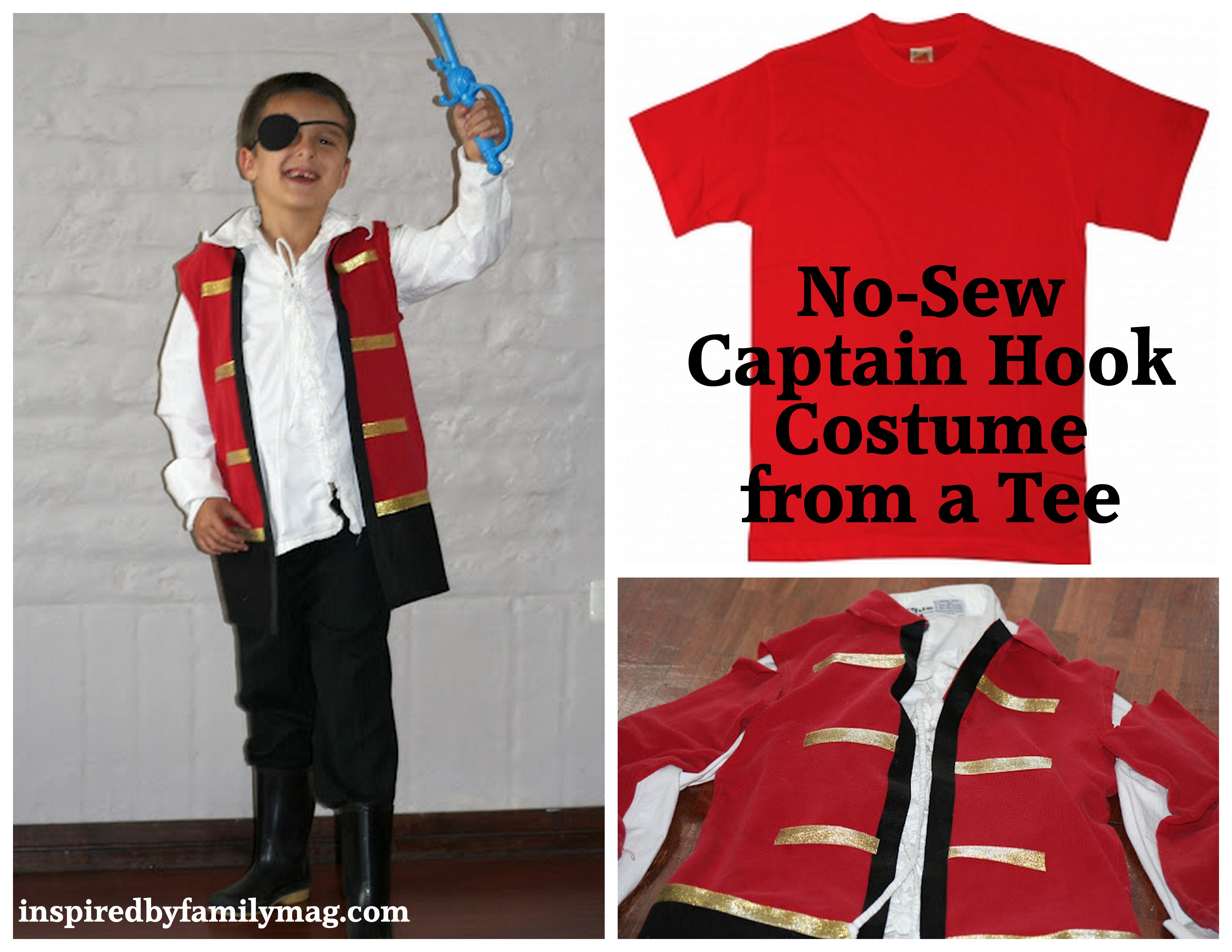 How To Make A No Sew Captain Hook Costume From A T Shirt!