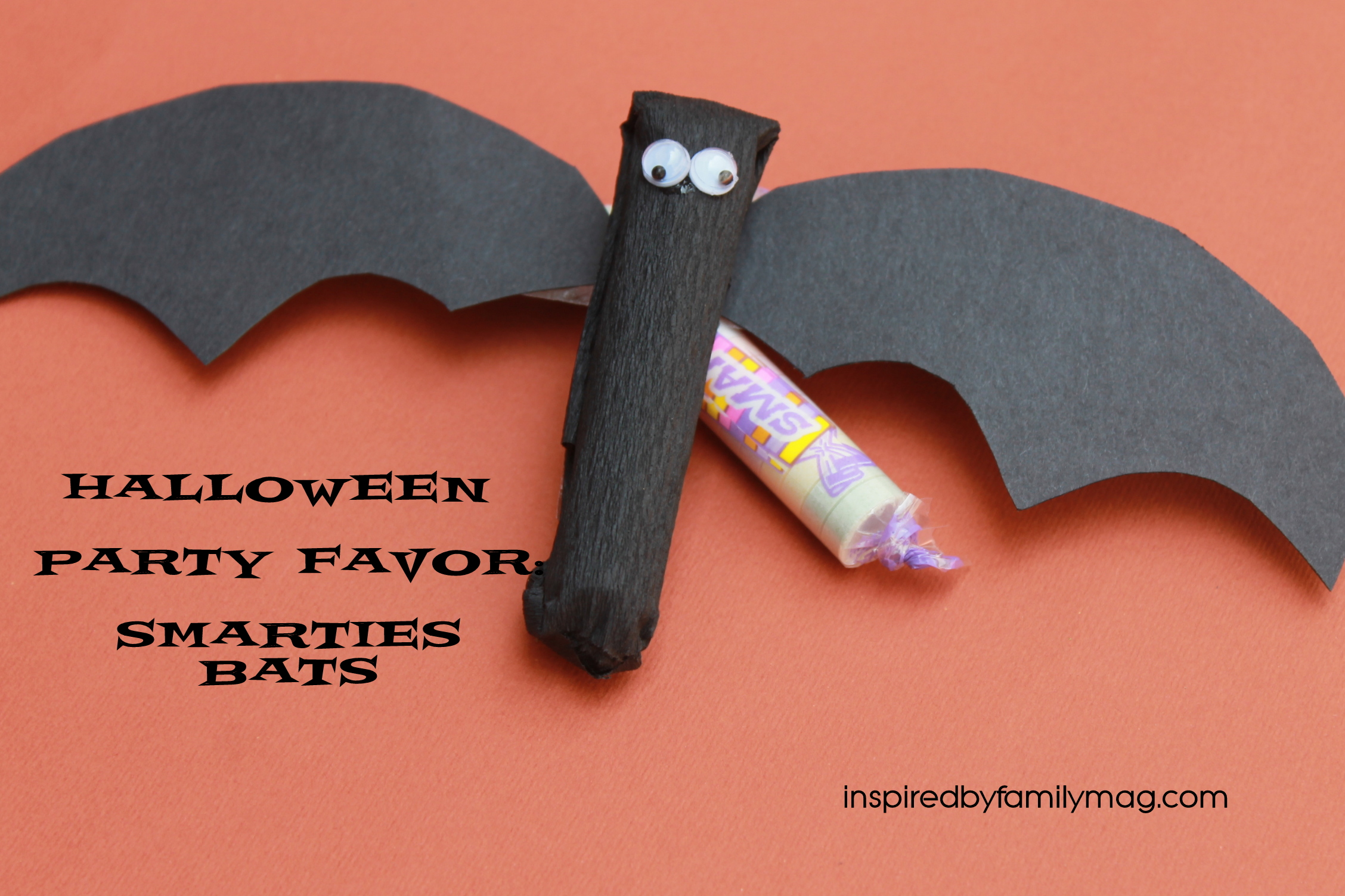halloween party treats: smarties bats - inspiredfamily