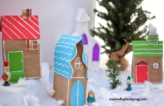 paper christmas village craft