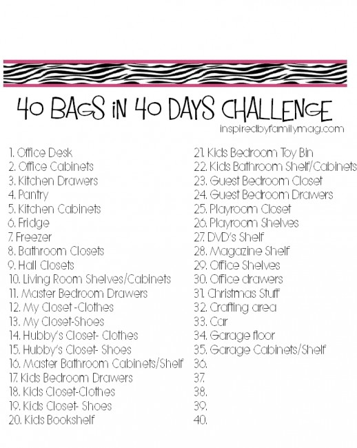 Refreshing image with 40 bags in 40 days printable