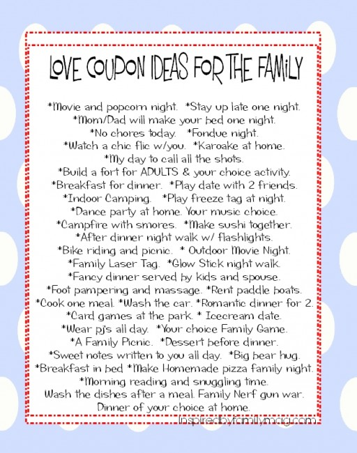 ValentineS Day Activity Love Coupons For The Family