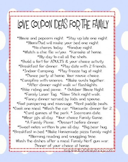 love coupon ideas for the family