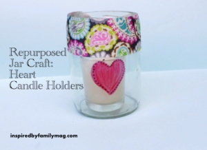 repurposed jar craft- heart candle holder
