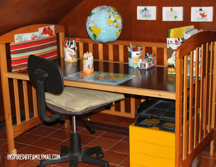 Repurposed Crib Project Kids Work Station Inspired By