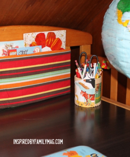 fabric sling bookshelf - no sew
