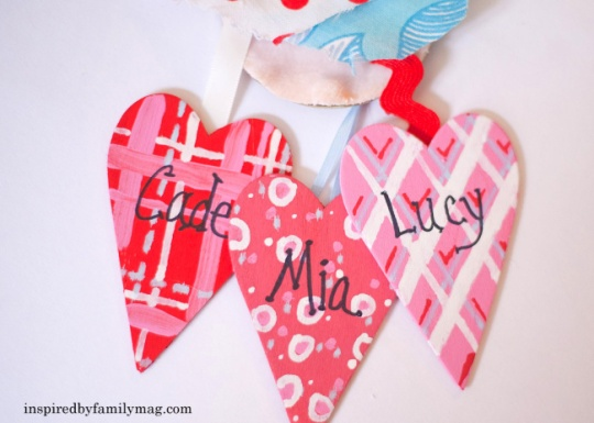wooden painted hearts