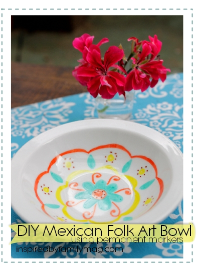 paint your mexican folk art bowls with permanent markers