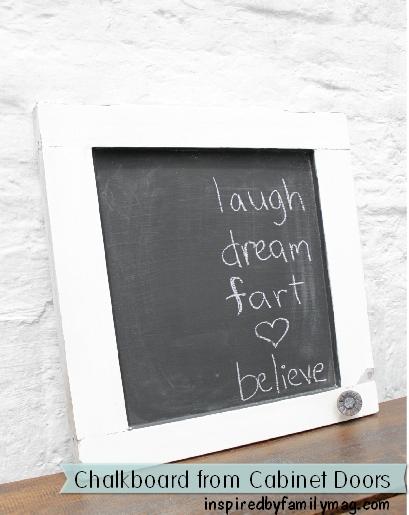 diy chalkboard from cabinet doors