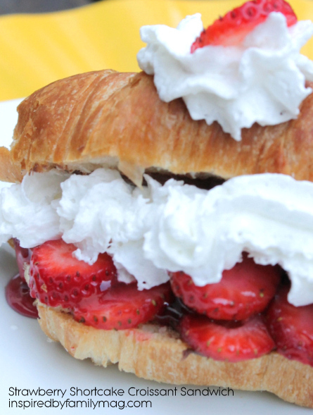 easy strawberry shortcake in a croissant